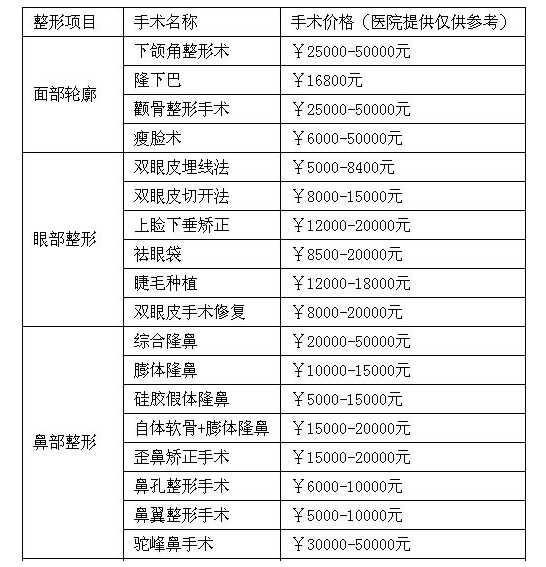 北京金炫澈整形医院价格一览表